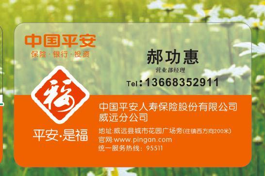 保险公司名片设计,打印图片